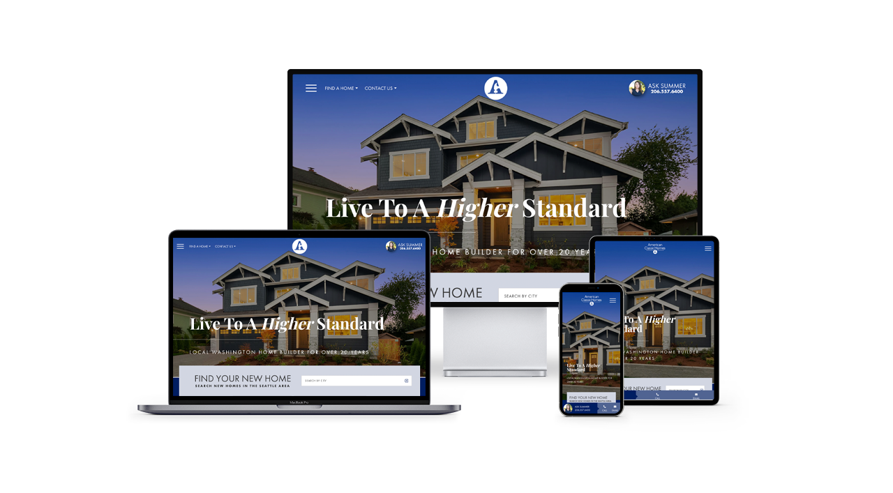 Home Builder Website Design for American Classic Homes