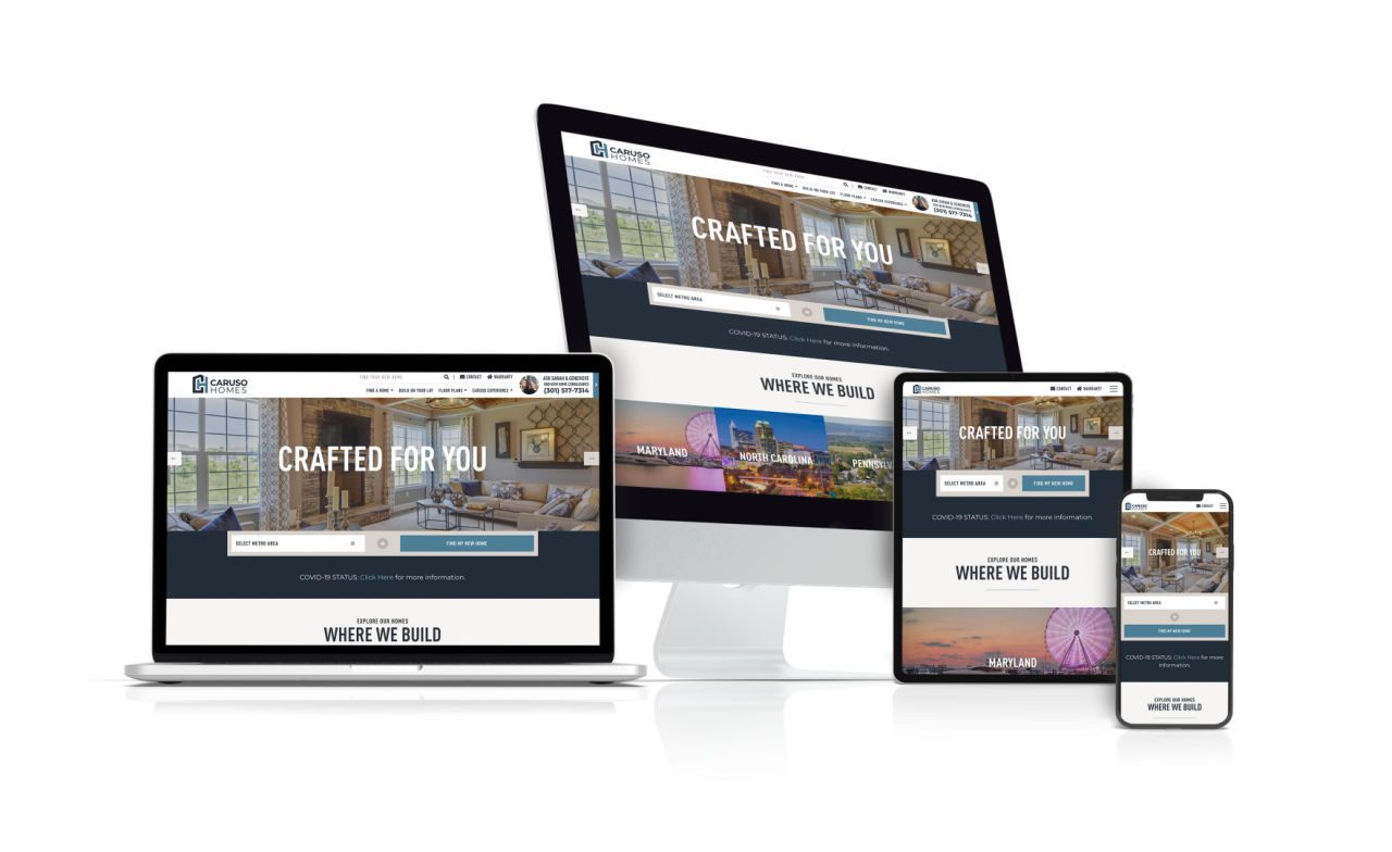 Home Builder Website Design for Caruso Homes