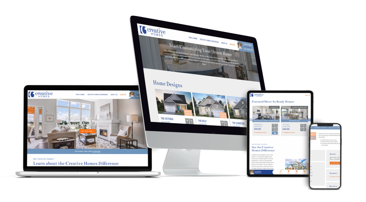 Home Builder Website Design for Creative Homes