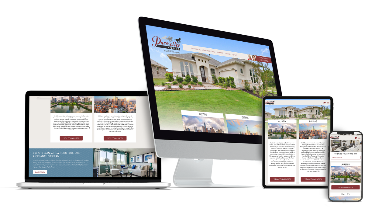 Home Builder Website Design for Pacesetter Homes