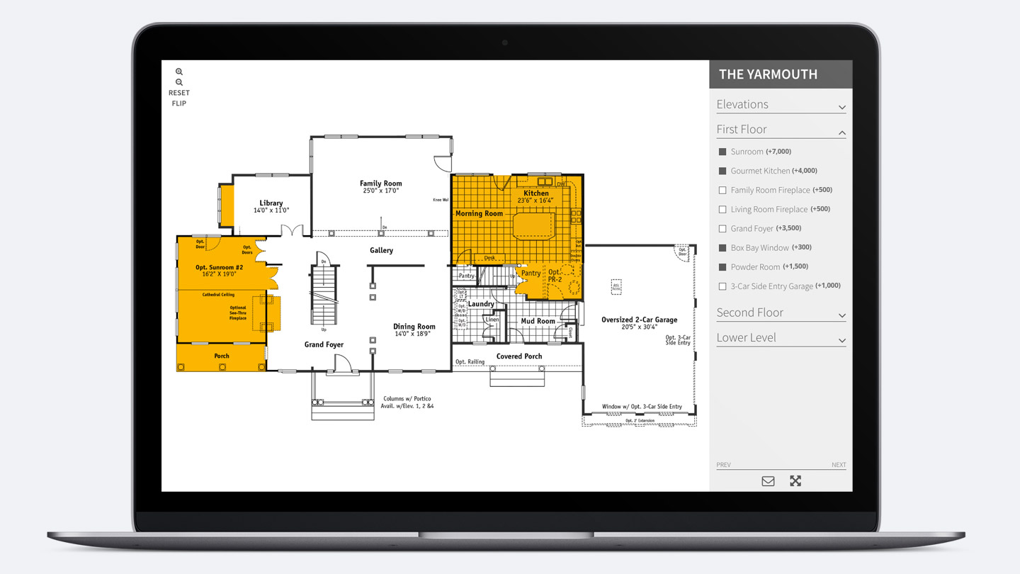 Interactive floor plans for home builders from oneil for Home builder interactive floor plans